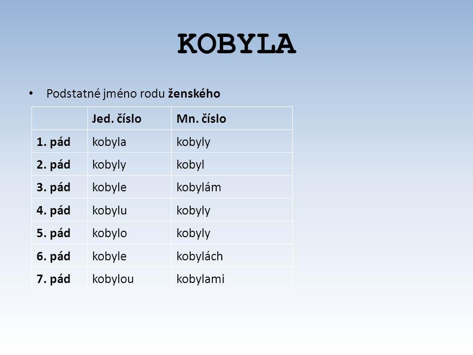 KOBYLA Podstatné jméno rodu ženského Jed.čísloMn.