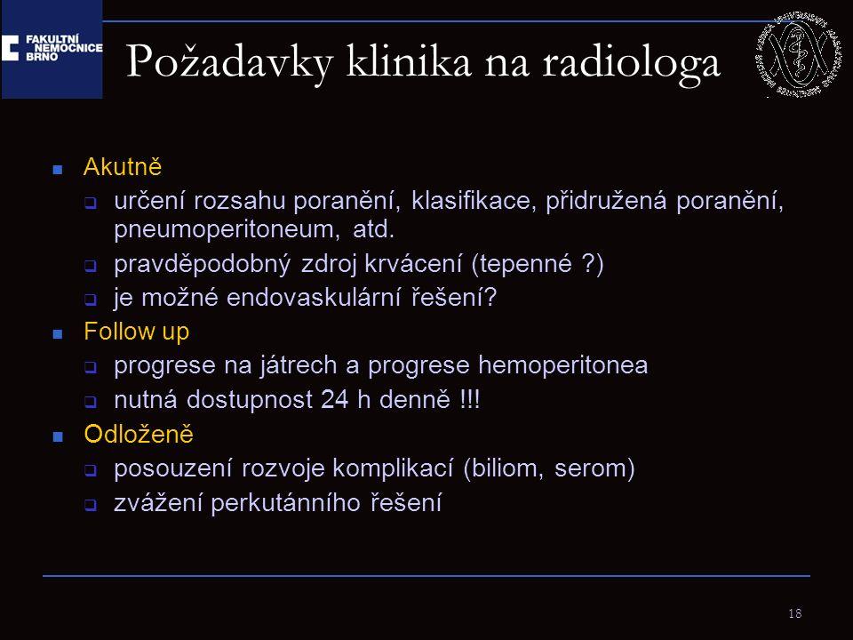 18 Požadavky klinika na radiologa Akutně  určení rozsahu poranění, klasifikace, přidružená poranění, pneumoperitoneum, atd.  pravděpodobný zdroj krv