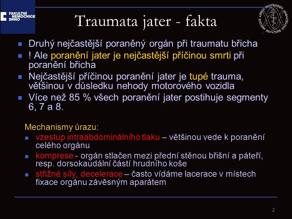 13 Terapie Dříve se většina těchto poranění operovala 86% poranění jater přestalo krvácet do doby operace 67% operací nemělo terapeutický efekt Proto dnes přes 80% dospělých a 97% dětských pacientů je řešeno konzervativně Zobrazovací metody, zvláště CT, mají klíčový význam pro stanovení postupu u jaterních poranění