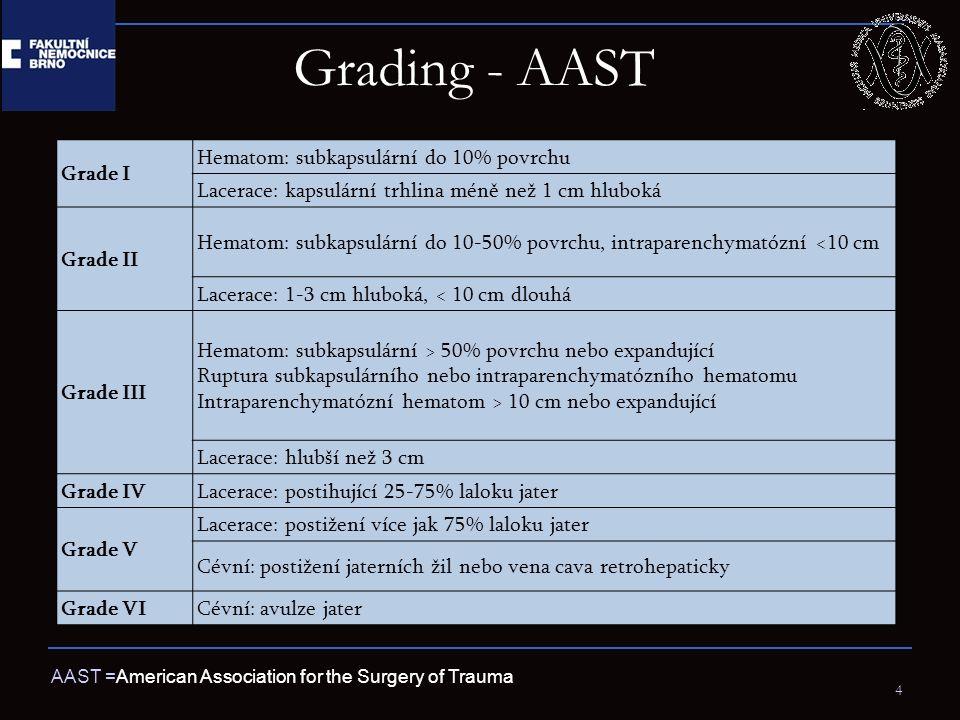 Grading - AAST 4 AAST =American Association for the Surgery of Trauma Grade I Hematom: subkapsulární do 10% povrchu Lacerace: kapsulární trhlina méně než 1 cm hluboká Grade II Hematom: subkapsulární do 10-50% povrchu, intraparenchymatózní <10 cm Lacerace: 1-3 cm hluboká, < 10 cm dlouhá Grade III Hematom: subkapsulární > 50% povrchu nebo expandující Ruptura subkapsulárního nebo intraparenchymatózního hematomu Intraparenchymatózní hematom > 10 cm nebo expandující Lacerace: hlubší než 3 cm Grade IVLacerace: postihující 25-75% laloku jater Grade V Lacerace: postižení více jak 75% laloku jater Cévní: postižení jaterních žil nebo vena cava retrohepaticky Grade VICévní: avulze jater