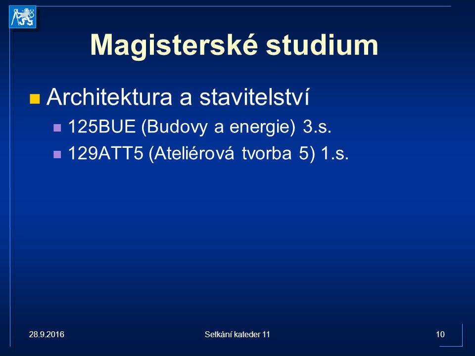 Magisterské studium Architektura a stavitelství 125BUE (Budovy a energie) 3.s.
