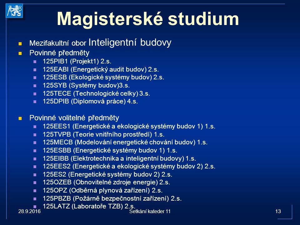 Magisterské studium Mezifakultní obor Inteligentní budovy Povinné předměty 125PIB1 (Projekt1) 2.s.