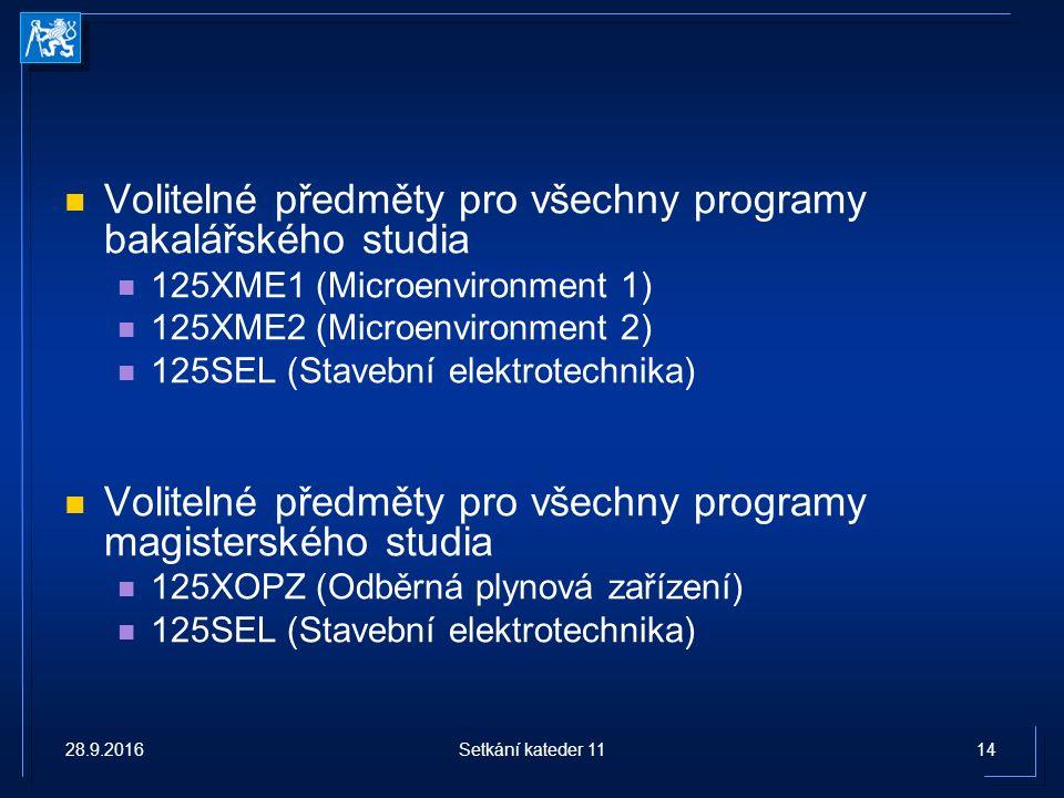 Volitelné předměty pro všechny programy bakalářského studia 125XME1 (Microenvironment 1) 125XME2 (Microenvironment 2) 125SEL (Stavební elektrotechnika) Volitelné předměty pro všechny programy magisterského studia 125XOPZ (Odběrná plynová zařízení) 125SEL (Stavební elektrotechnika) 28.9.201614Setkání kateder 11