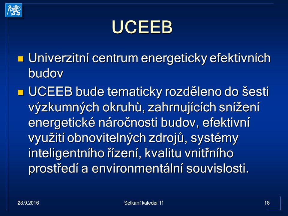 UCEEB Univerzitní centrum energeticky efektivních budov Univerzitní centrum energeticky efektivních budov UCEEB bude tematicky rozděleno do šesti výzkumných okruhů, zahrnujících snížení energetické náročnosti budov, efektivní využití obnovitelných zdrojů, systémy inteligentního řízení, kvalitu vnitřního prostředí a environmentální souvislosti.