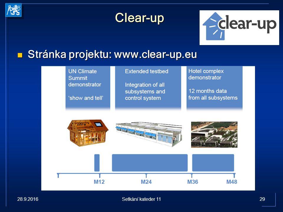 Clear-up Stránka projektu: www.clear-up.eu Stránka projektu: www.clear-up.eu 28.9.201629Setkání kateder 11