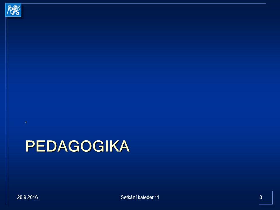 PEDAGOGIKA. 28.9.20163Setkání kateder 11