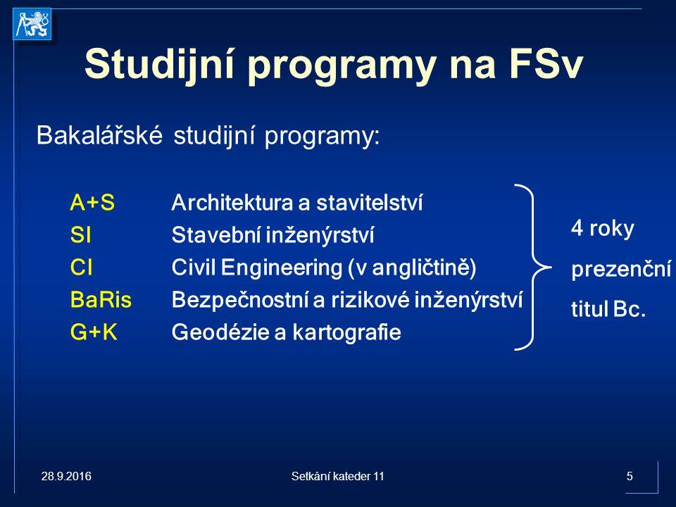 Studijní programy na FSv Magisterské studijní programy: A+SArchitektura a stavitelství 2 roky, Ing.arch XInteligentní budovy2 roky, Ing.