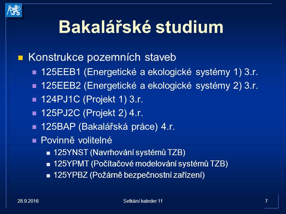 Bakalářské studium Architektura a stavitelství 125TZ1/125TBA1 (Technická zařízení budov 1) 3.r.