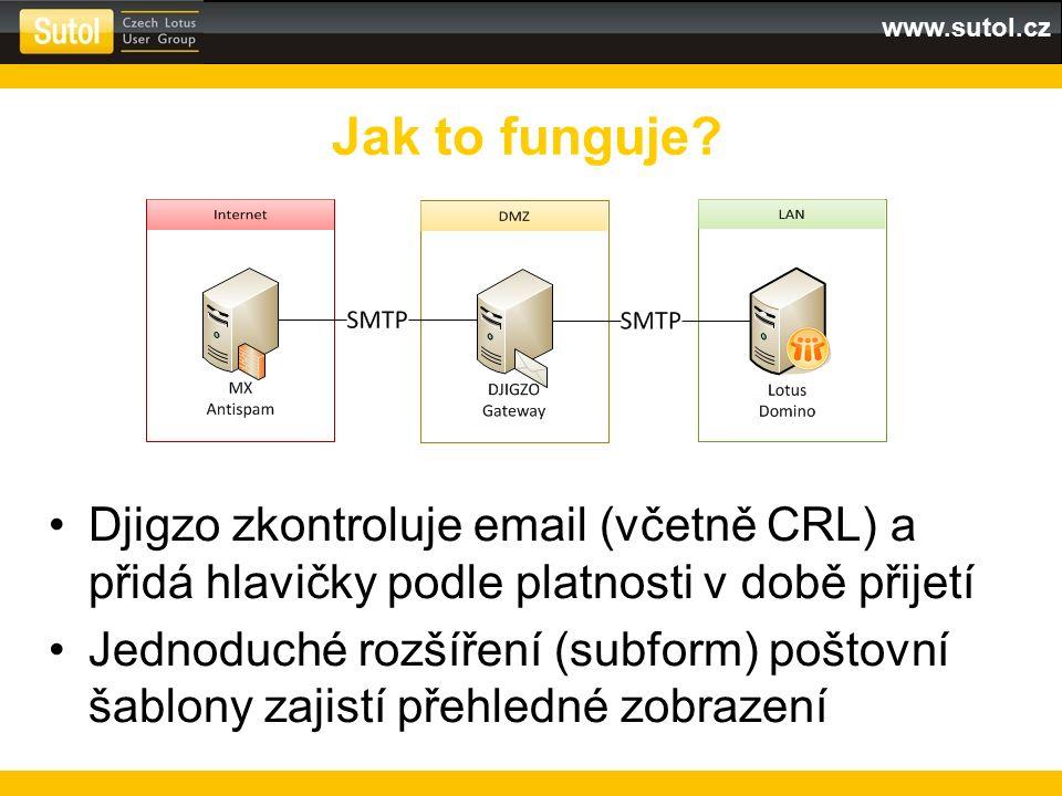 www.sutol.cz Djigzo zkontroluje email (včetně CRL) a přidá hlavičky podle platnosti v době přijetí Jednoduché rozšíření (subform) poštovní šablony zajistí přehledné zobrazení Jak to funguje