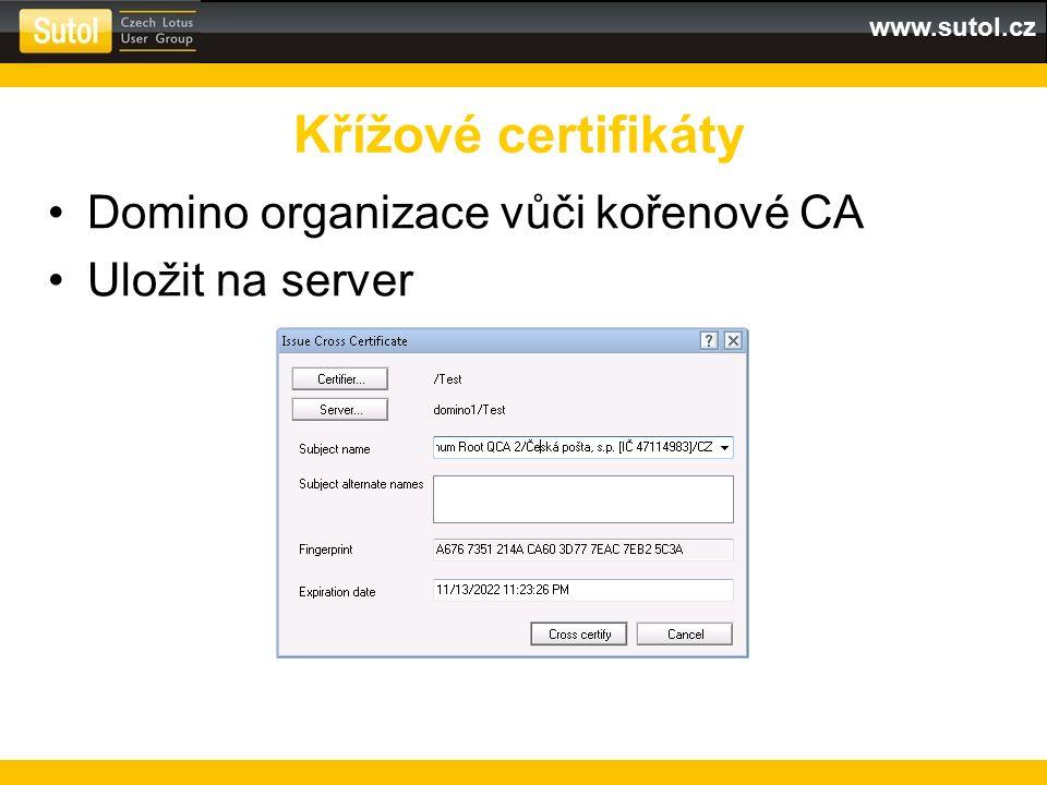 """www.sutol.cz Publikovat na klienty pomocí security policy Záložka Keys and Certificates – tlačítko """"Update Links Křížové certifikáty"""