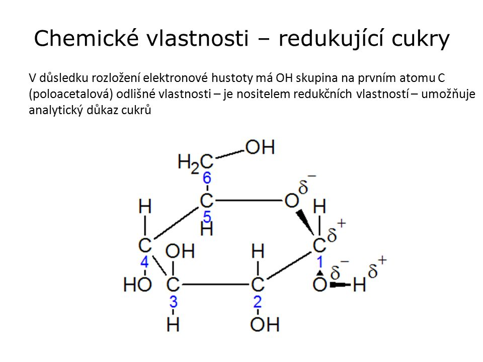 Chemické vlastnosti – redukující cukry V důsledku rozložení elektronové hustoty má OH skupina na prvním atomu C (poloacetalová) odlišné vlastnosti – je nositelem redukčních vlastností – umožňuje analytický důkaz cukrů
