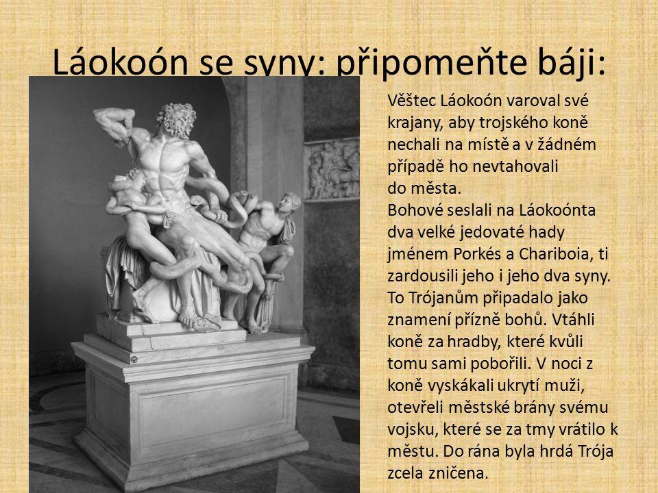 Láokoón se syny: připomeňte báji: Věštec Láokoón varoval své krajany, aby trojského koně nechali na místě a v žádném případě ho nevtahovali do města.