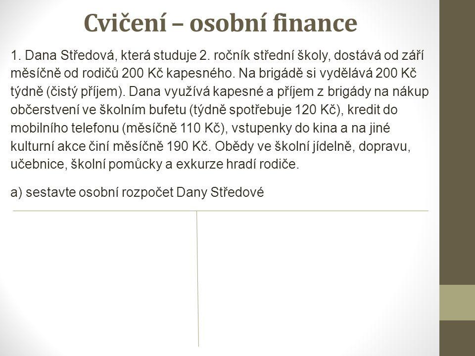 Cvičení – osobní finance 1. Dana Středová, která studuje 2.