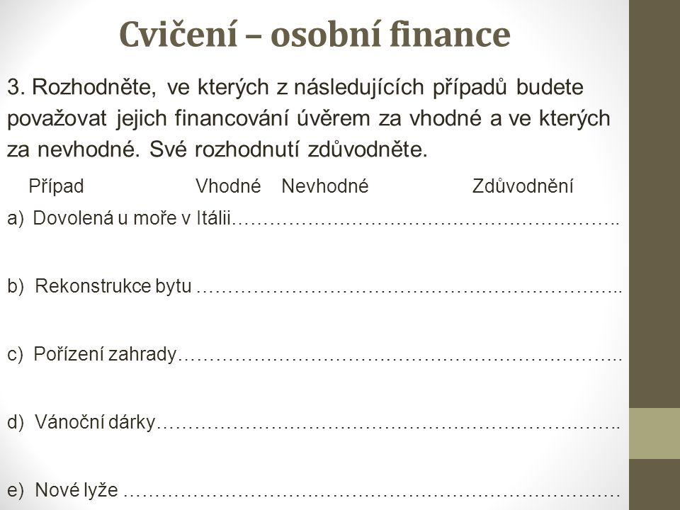 Cvičení – osobní finance 3. Rozhodněte, ve kterých z následujících případů budete považovat jejich financování úvěrem za vhodné a ve kterých za nevhod