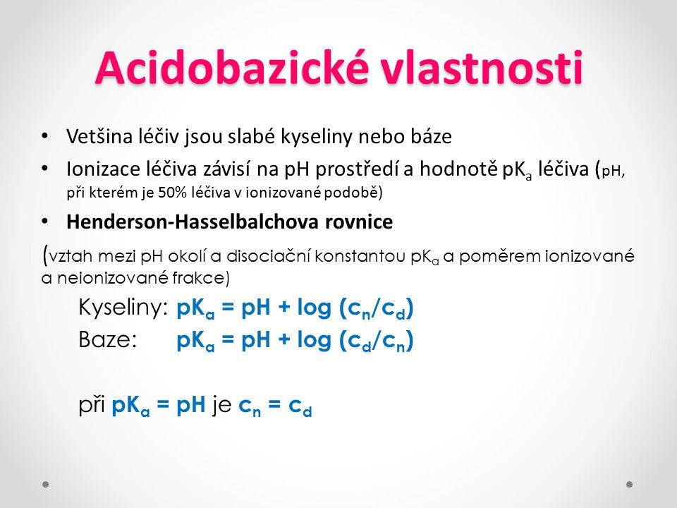 Acidobazické vlastnosti Vetšina léčiv jsou slabé kyseliny nebo báze Ionizace léčiva závisí na pH prostředí a hodnotě pK a léčiva ( pH, při kterém je 5