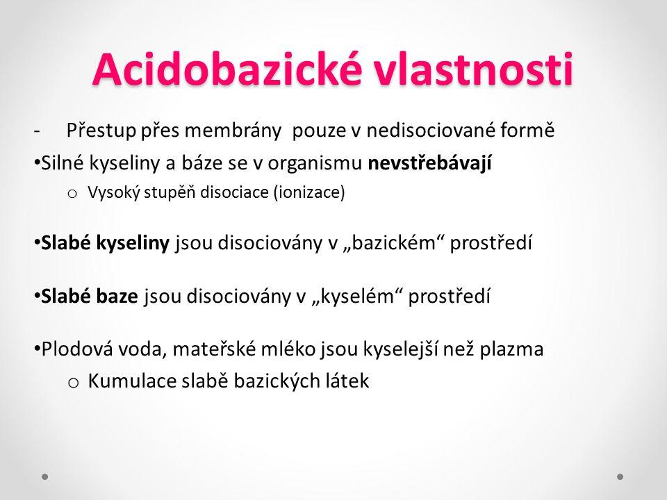 Acidobazické vlastnosti -Přestup přes membrány pouze v nedisociované formě Silné kyseliny a báze se v organismu nevstřebávají o Vysoký stupěň disociac