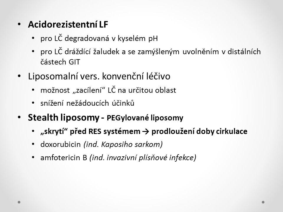 Acidorezistentní LF pro LČ degradovaná v kyselém pH pro LČ dráždící žaludek a se zamýšleným uvolněním v distálních částech GIT Liposomalní vers. konve