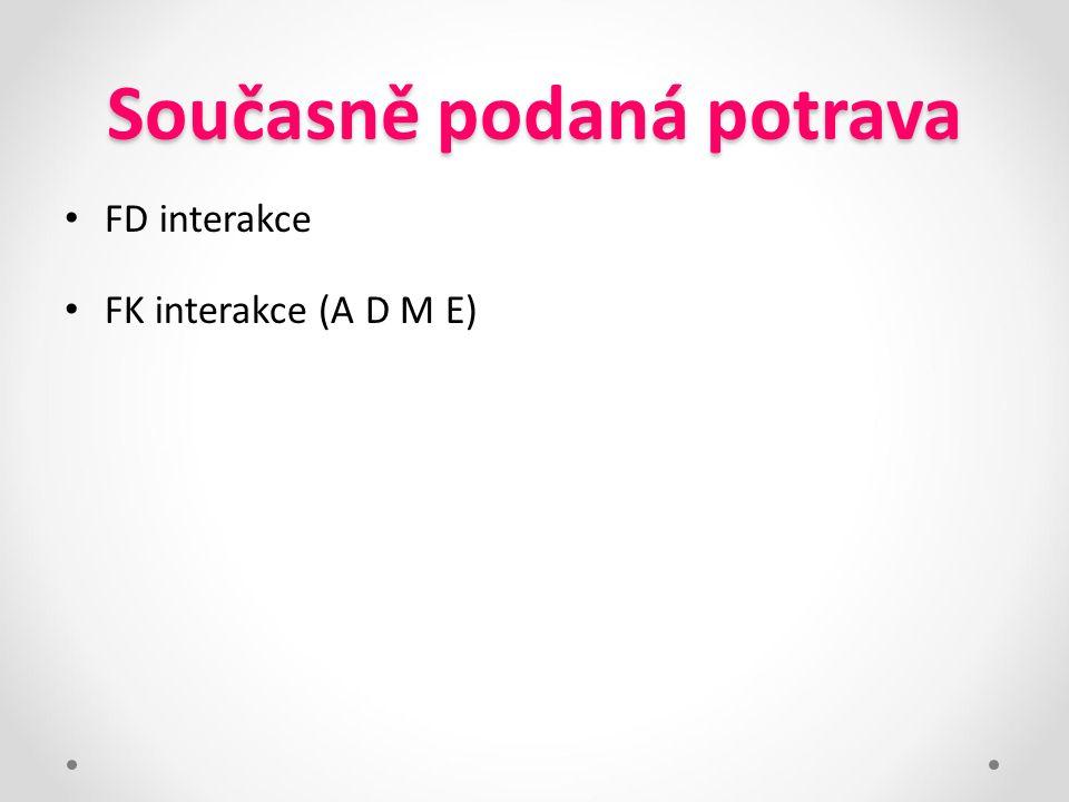 Současně podaná potrava FD interakce FK interakce (A D M E)