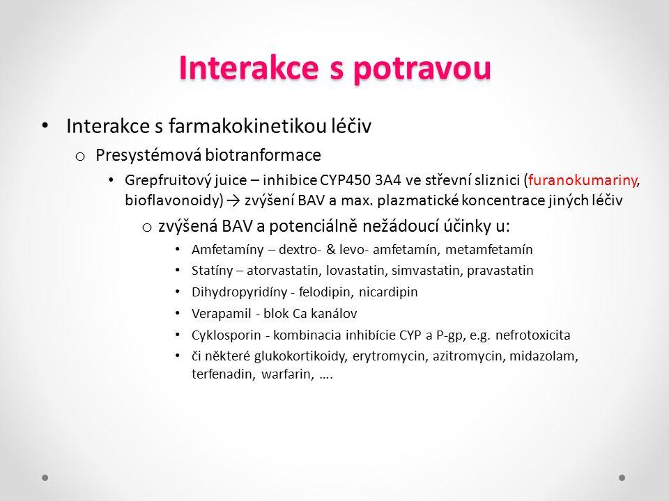 Interakce s potravou Interakce s farmakokinetikou léčiv o Presystémová biotranformace Grepfruitový juice – inhibice CYP450 3A4 ve střevní sliznici (fu