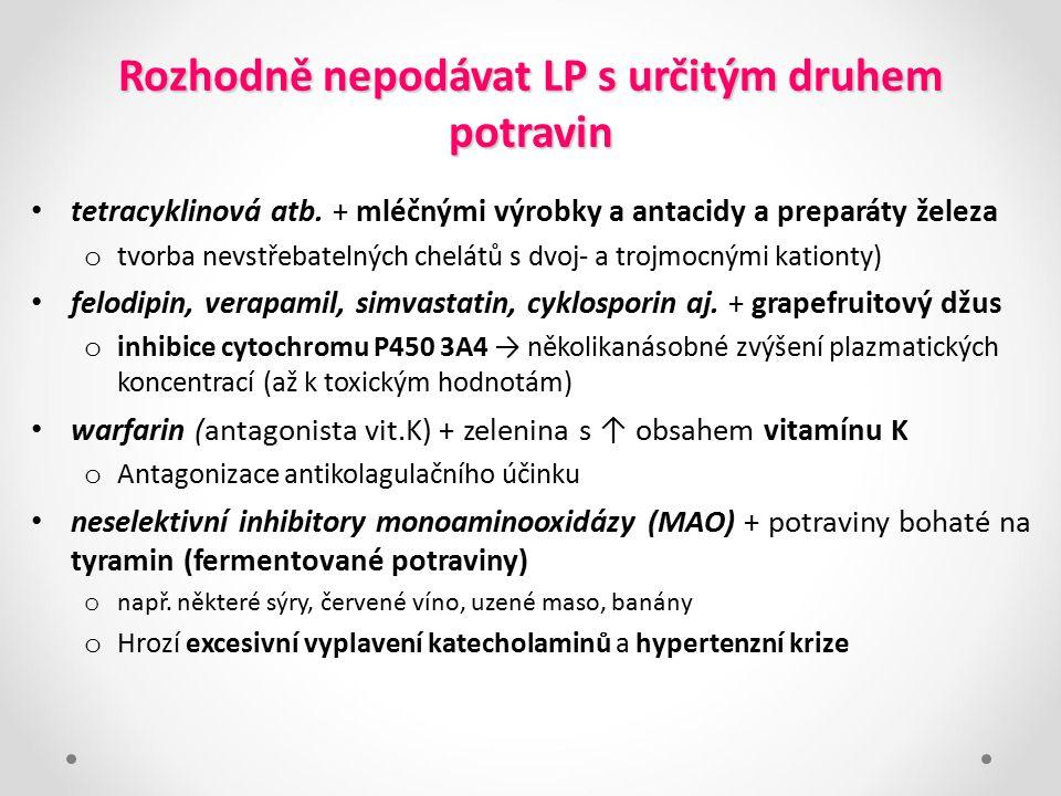 Rozhodně nepodávat LP s určitým druhem potravin tetracyklinová atb. + mléčnými výrobky a antacidy a preparáty železa o tvorba nevstřebatelných chelátů