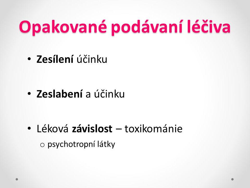 Opakované podávaní léčiva Zesílení účinku Zeslabení a účinku Léková závislost – toxikománie o psychotropní látky