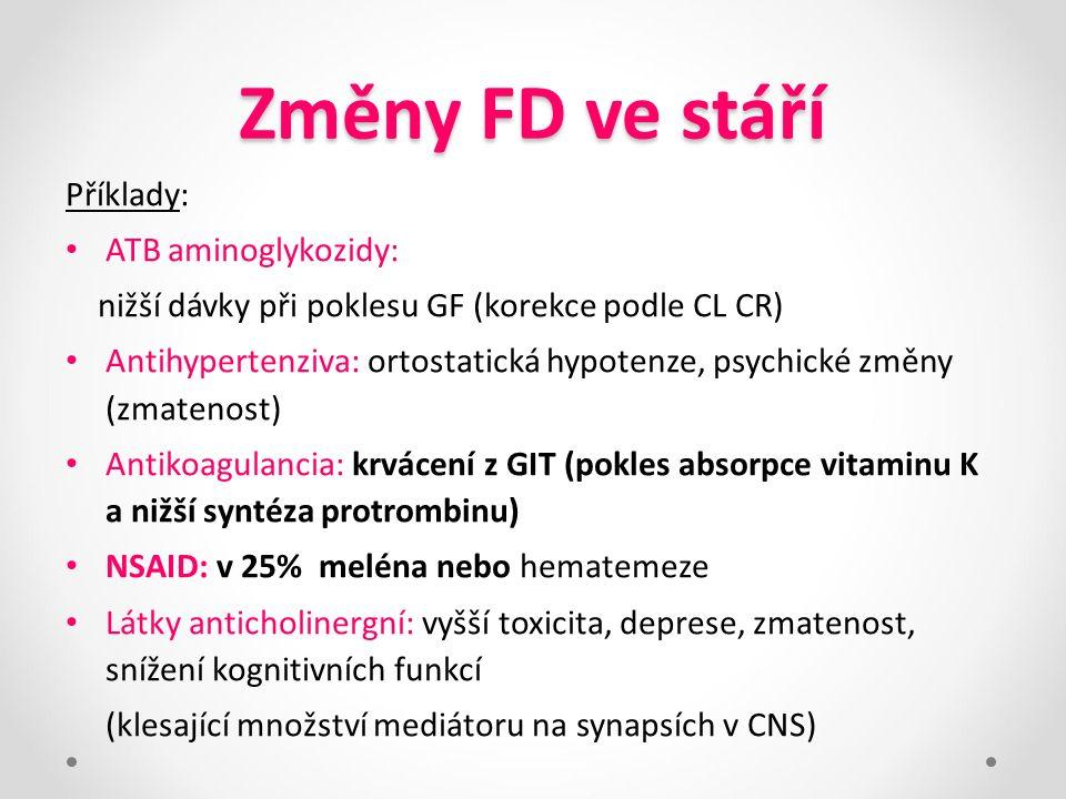 Změny FD ve stáří Příklady: ATB aminoglykozidy: nižší dávky při poklesu GF (korekce podle CL CR) Antihypertenziva: ortostatická hypotenze, psychické z