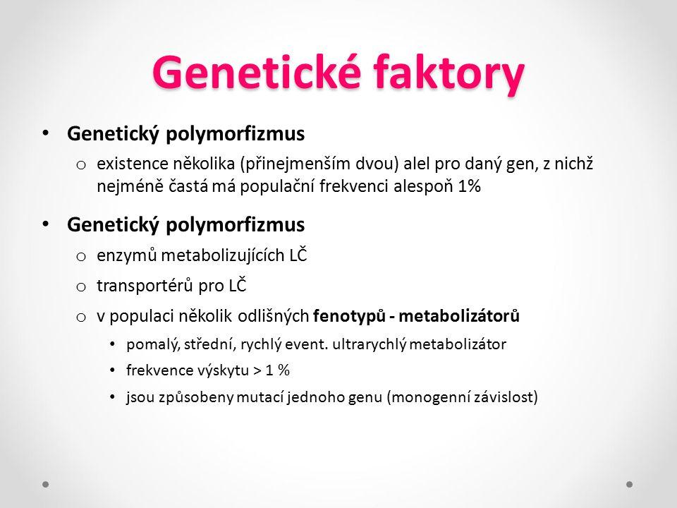 Genetické faktory Genetický polymorfizmus o existence několika (přinejmenším dvou) alel pro daný gen, z nichž nejméně častá má populační frekvenci ale