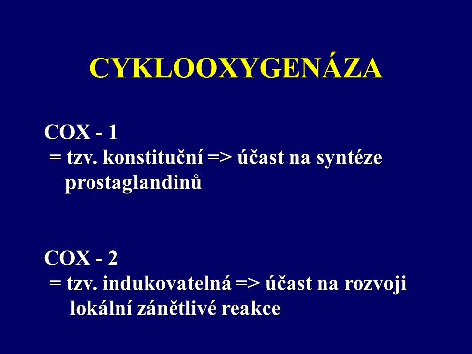 CYKLOOXYGENÁZA COX - 1 = tzv. konstituční => účast na syntéze = tzv.