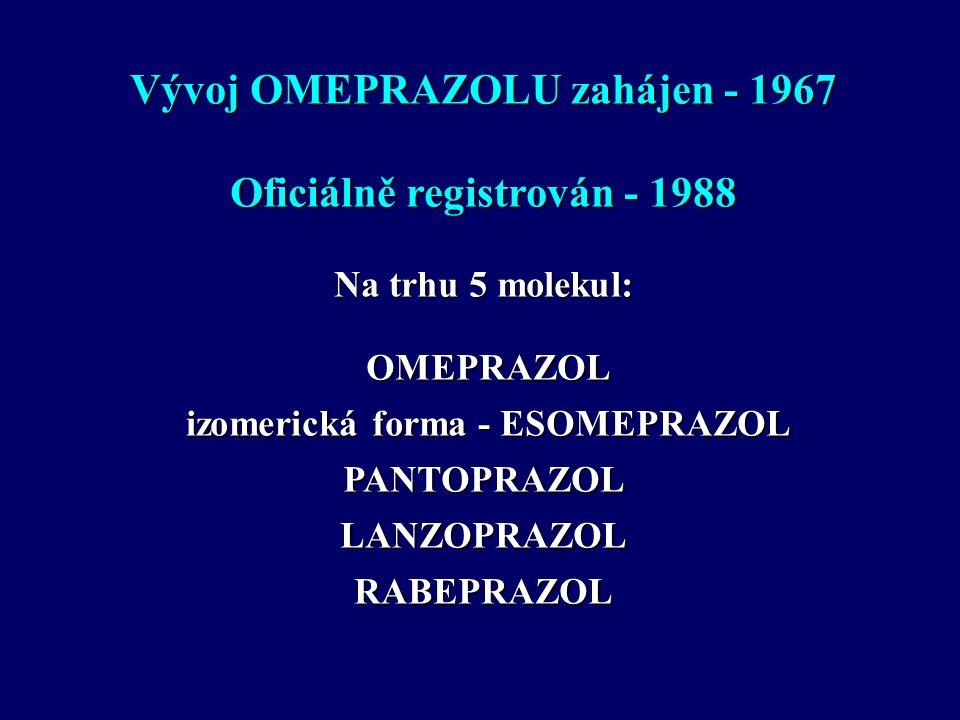 Vývoj OMEPRAZOLU zahájen - 1967 Oficiálně registrován - 1988 Na trhu 5 molekul: OMEPRAZOL OMEPRAZOL izomerická forma - ESOMEPRAZOL izomerická forma - ESOMEPRAZOLPANTOPRAZOLLANZOPRAZOLRABEPRAZOL