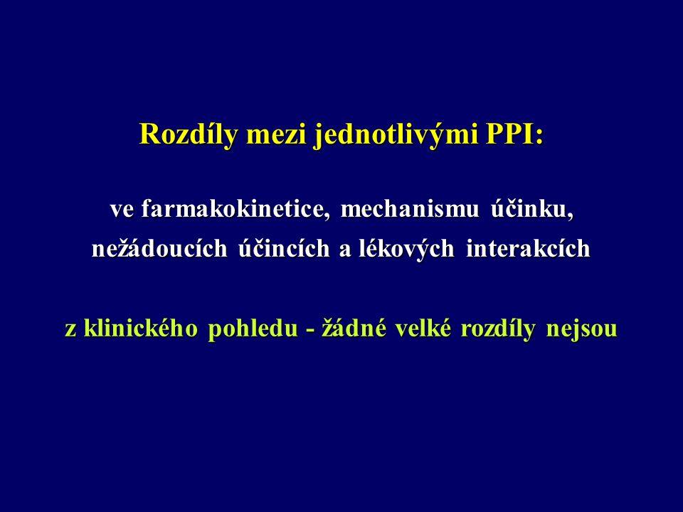 NOVĚJŠÍ GALENICKÉ FORMY PPI Omeprazol v suspenzi (SOS OMEPRAZOL) – vysoká účinnost u NAB Immediate-Release Ome (IR-OMEPRAZOL) Omeprazol ve formě žvýkačky, sáčků Delayed Release System - DR (OME, PANTO, RABE, ESOME) Lanzoprazole Orally Disintegrating (ODT LANZOPRAZOL) (ODT LANZOPRAZOL) MDS SYSTEM (Multiple Dose System) - 5.000-10.000 mikročástic v kapsli, v každé částici (200-500 nm) účinné látky.