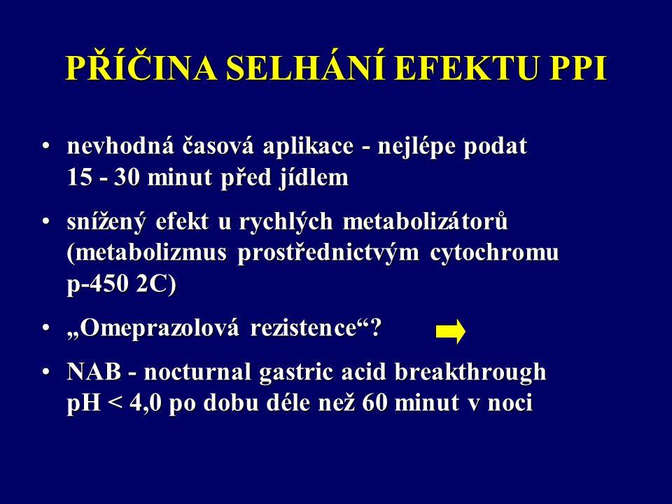 """PŘÍČINA SELHÁNÍ EFEKTU PPI nevhodná časová aplikace - nejlépe podat 15 - 30 minut před jídlemnevhodná časová aplikace - nejlépe podat 15 - 30 minut před jídlem snížený efekt u rychlých metabolizátorů (metabolizmus prostřednictvým cytochromu p-450 2C)snížený efekt u rychlých metabolizátorů (metabolizmus prostřednictvým cytochromu p-450 2C) """"Omeprazolová rezistence """"Omeprazolová rezistence ."""