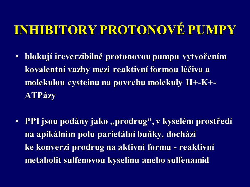 """INHIBITORY PROTONOVÉ PUMPY blokují ireverzibilně protonovou pumpu vytvořením kovalentní vazby mezi reaktivní formou léčiva a molekulou cysteinu na povrchu molekuly H+-K+- ATPázyblokují ireverzibilně protonovou pumpu vytvořením kovalentní vazby mezi reaktivní formou léčiva a molekulou cysteinu na povrchu molekuly H+-K+- ATPázy PPI jsou podány jako """"prodrug , v kyselém prostředí na apikálním polu parietální buňky, dochází ke konverzi prodrug na aktivní formu - reaktivní metabolit sulfenovou kyselinu anebo sulfenamidPPI jsou podány jako """"prodrug , v kyselém prostředí na apikálním polu parietální buňky, dochází ke konverzi prodrug na aktivní formu - reaktivní metabolit sulfenovou kyselinu anebo sulfenamid"""