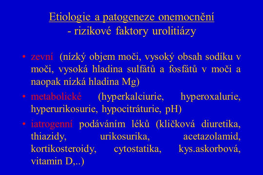Etiologie a patogeneze onemocnění - rizikové faktory urolitiázy zevní (nízký objem moči, vysoký obsah sodíku v moči, vysoká hladina sulfátů a fosfátů v moči a naopak nízká hladina Mg) metabolické (hyperkalciurie, hyperoxalurie, hyperurikosurie, hypocitráturie, pH) iatrogenní podáváním léků (kličková diuretika, thiazidy, urikosurika, acetazolamid, kortikosteroidy, cytostatika, kys.askorbová, vitamin D,..)