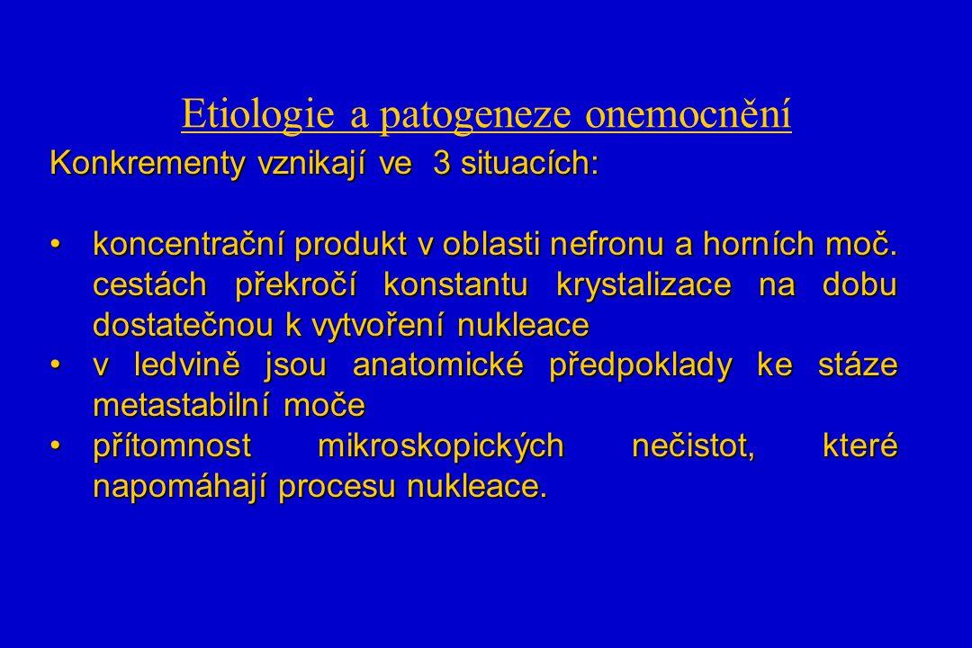 Etiologie a patogeneze onemocnění Konkrementy vznikají ve 3 situacích: koncentrační produkt v oblasti nefronu a horních moč.