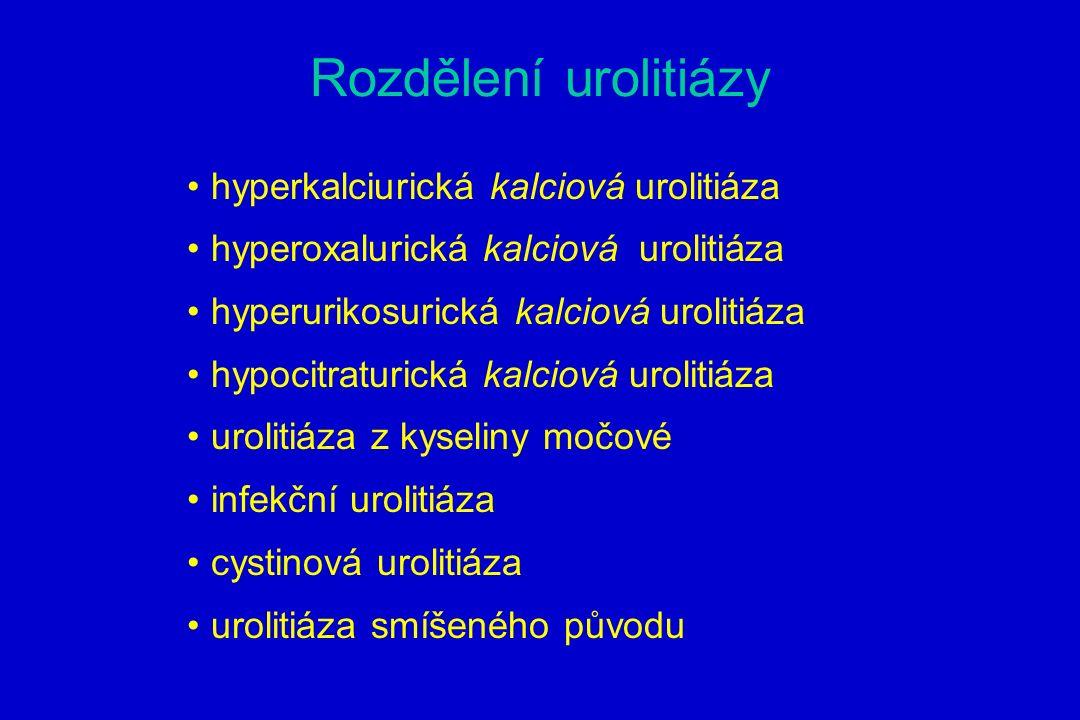 Rozdělení urolitiázy hyperkalciurická kalciová urolitiáza hyperoxalurická kalciová urolitiáza hyperurikosurická kalciová urolitiáza hypocitraturická kalciová urolitiáza urolitiáza z kyseliny močové infekční urolitiáza cystinová urolitiáza urolitiáza smíšeného původu