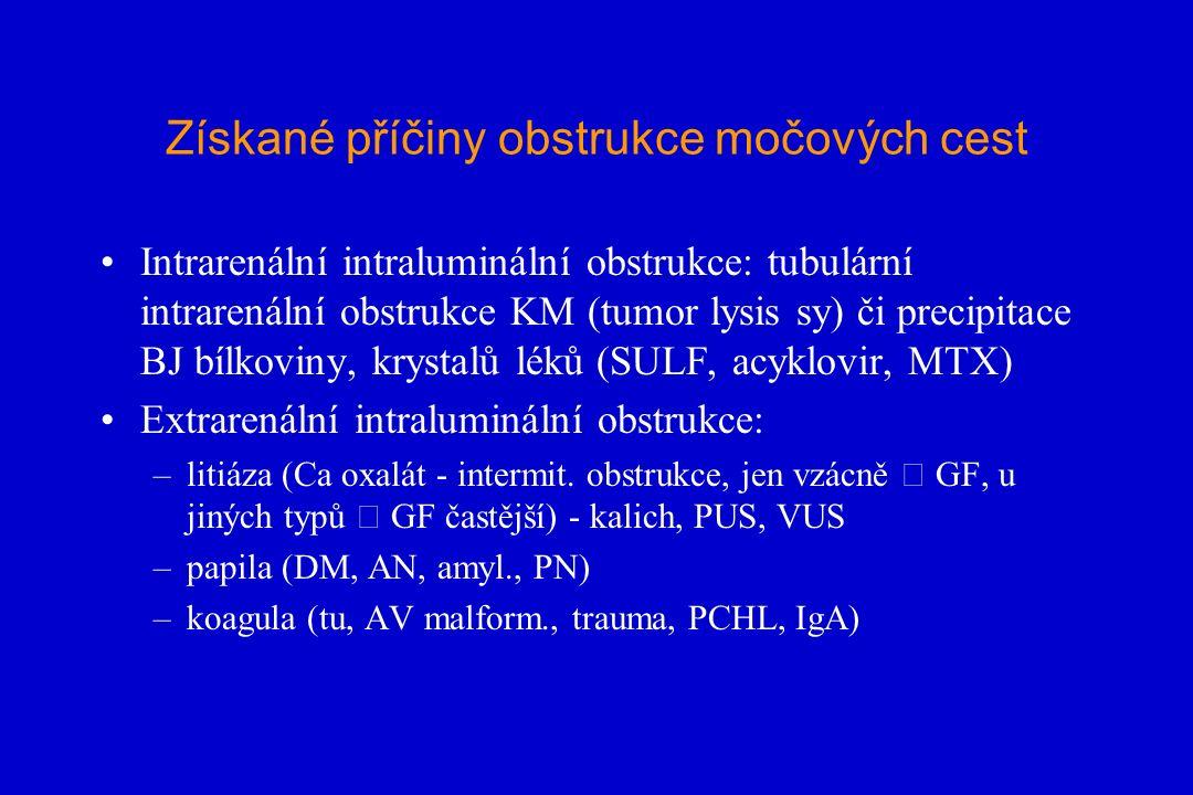 Získané příčiny obstrukce močových cest Intrarenální intraluminální obstrukce: tubulární intrarenální obstrukce KM (tumor lysis sy) či precipitace BJ bílkoviny, krystalů léků (SULF, acyklovir, MTX) Extrarenální intraluminální obstrukce: –litiáza (Ca oxalát - intermit.