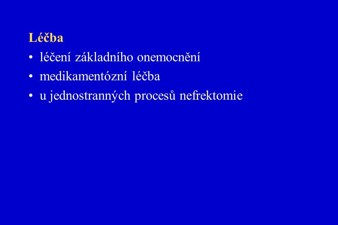 Léčba léčení základního onemocnění medikamentózní léčba u jednostranných procesů nefrektomie