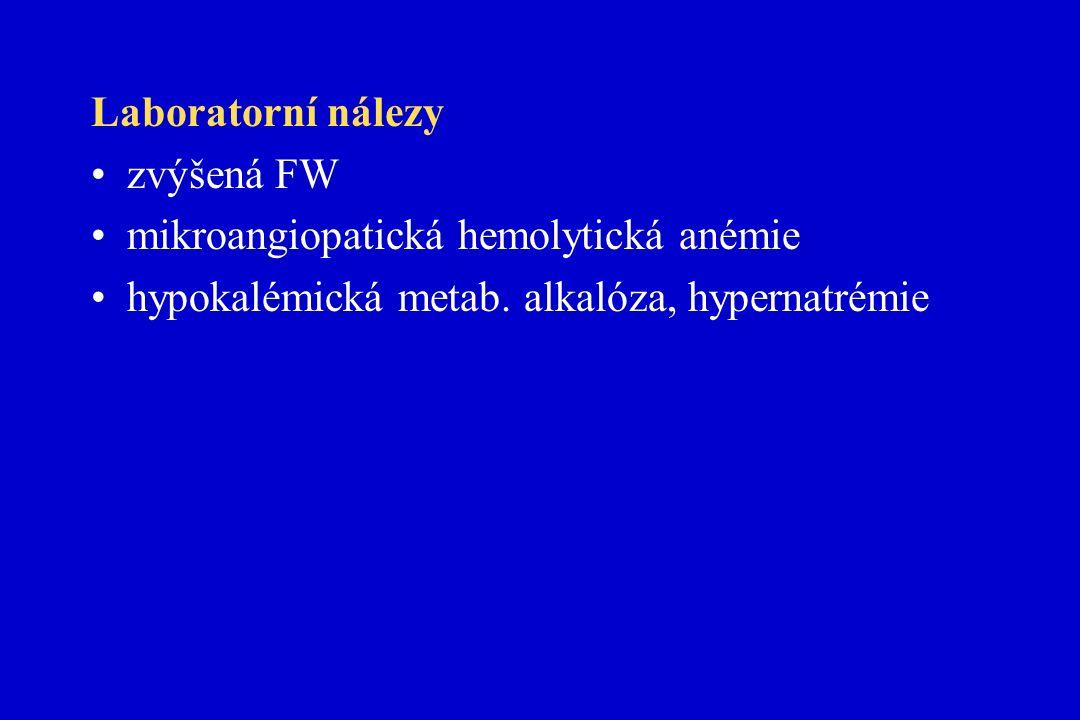 Laboratorní nálezy zvýšená FW mikroangiopatická hemolytická anémie hypokalémická metab.