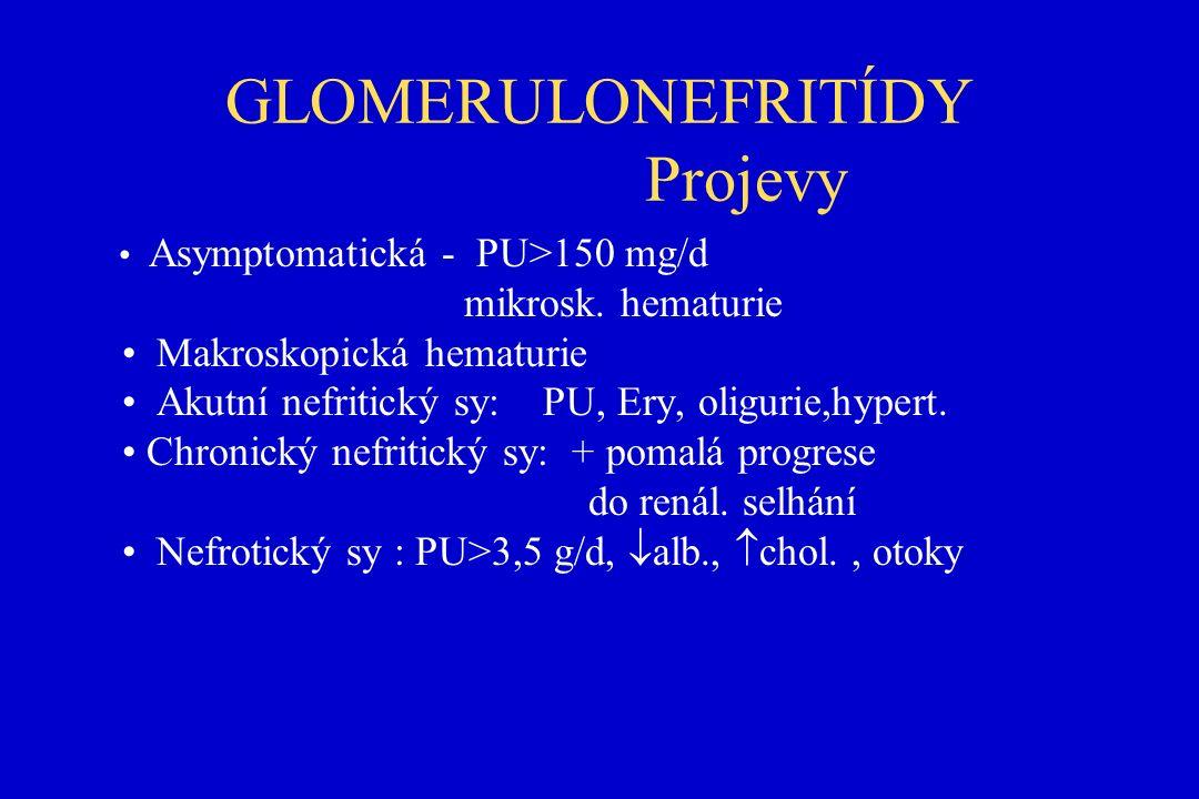 GLOMERULONEFRITÍDY Projevy Asymptomatická - PU>150 mg/d mikrosk.