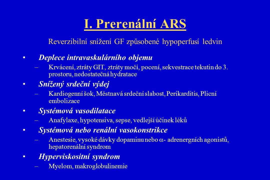 Klinické projevy prerenálního akutní selhání ledvin Anamnéza: –žízeň, užívané léky, deficit tekutin při výpočtu bilance P/V Příznaky: –pokles hmotnosti, oligurie (x anurie), ortostatická hypotense, tychakardie, suchá kůže, pokles kožního turgoru, snížená náplň krčních žil Laboratoř: –Hemokoncentrace (zvýšení albuminu a hematokritu), vzestup urey v diskrepanci s Cr, specifická hmotnost moče >1030, osmolalita moče >500mosm/kg, U-Na < 20 mmol/l, FE Na <1% Monitorace: Nízké CVT (srdeční výdej nebo tlak v zaklínění) Terapeutická opatření: Rychlá a agresivní hydratace do doby než je diuresa kolem 60-120ml/hod V případě jiné příčiny než je volumová deplece -> léčba vyvolávajícího onemocnění