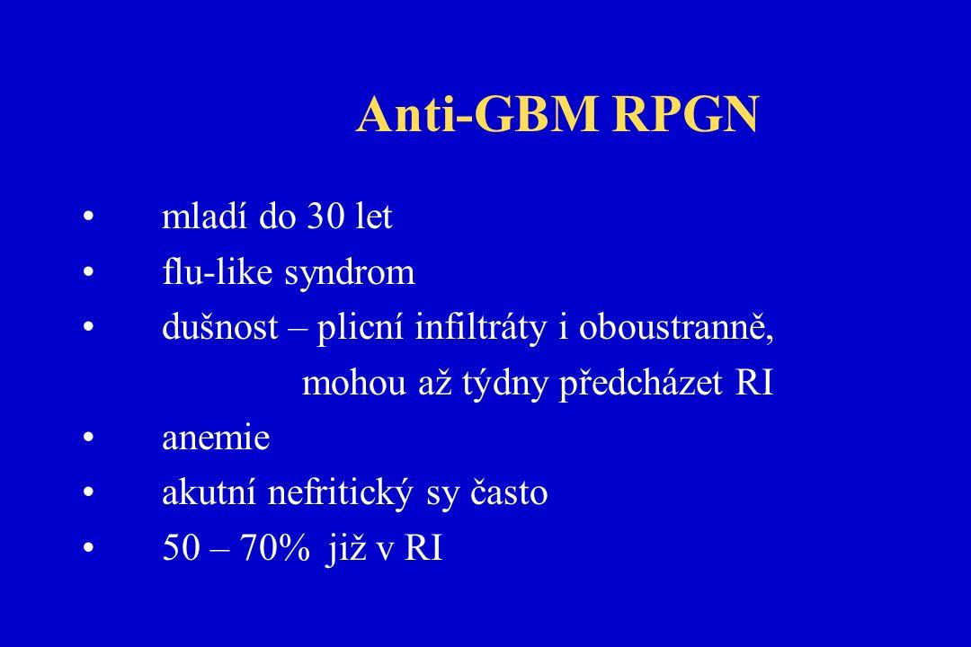 Anti-GBM RPGN mladí do 30 let flu-like syndrom dušnost – plicní infiltráty i oboustranně, mohou až týdny předcházet RI anemie akutní nefritický sy často 50 – 70% již v RI