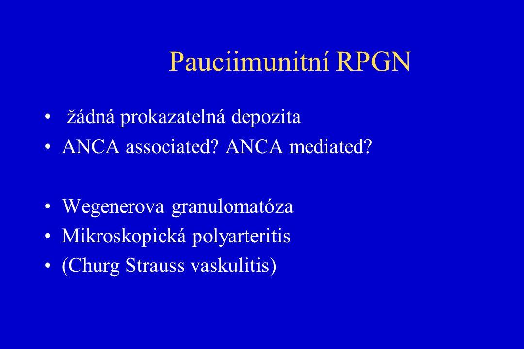 Pauciimunitní RPGN žádná prokazatelná depozita ANCA associated.