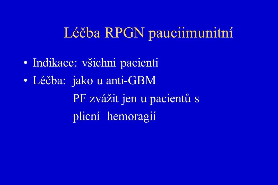 Léčba RPGN pauciimunitní Indikace: všichni pacienti Léčba: jako u anti-GBM PF zvážit jen u pacientů s plicní hemoragií