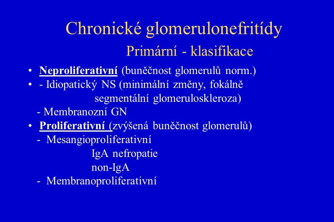 Chronické glomerulonefritídy Primární - klasifikace Neproliferativní (buněčnost glomerulů norm.) - Idiopatický NS (minimální změny, fokálně segmentální glomeruloskleroza) - Membranozní GN Proliferativní (zvýšená buněčnost glomerulů) - Mesangioproliferativní IgA nefropatie non-IgA - Membranoproliferativní