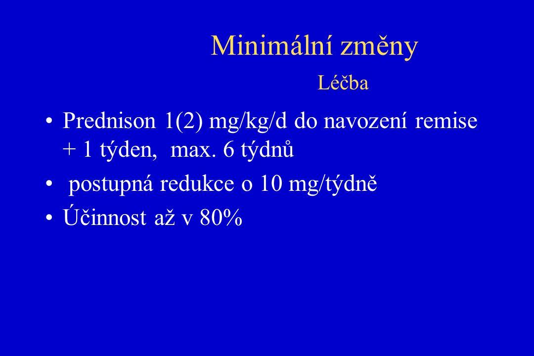 Minimální změny Léčba Prednison 1(2) mg/kg/d do navození remise + 1 týden, max.