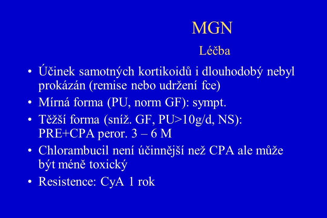 MGN Léčba Účinek samotných kortikoidů i dlouhodobý nebyl prokázán (remise nebo udržení fce) Mírná forma (PU, norm GF): sympt.