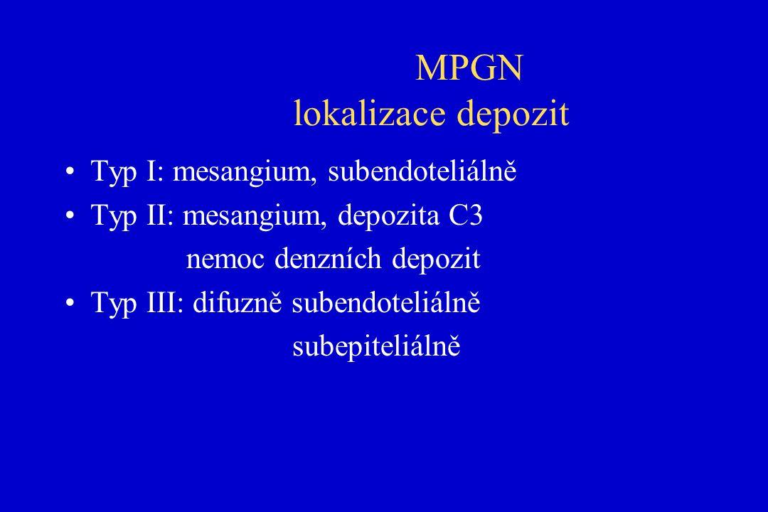 MPGN lokalizace depozit Typ I: mesangium, subendoteliálně Typ II: mesangium, depozita C3 nemoc denzních depozit Typ III: difuzně subendoteliálně subepiteliálně