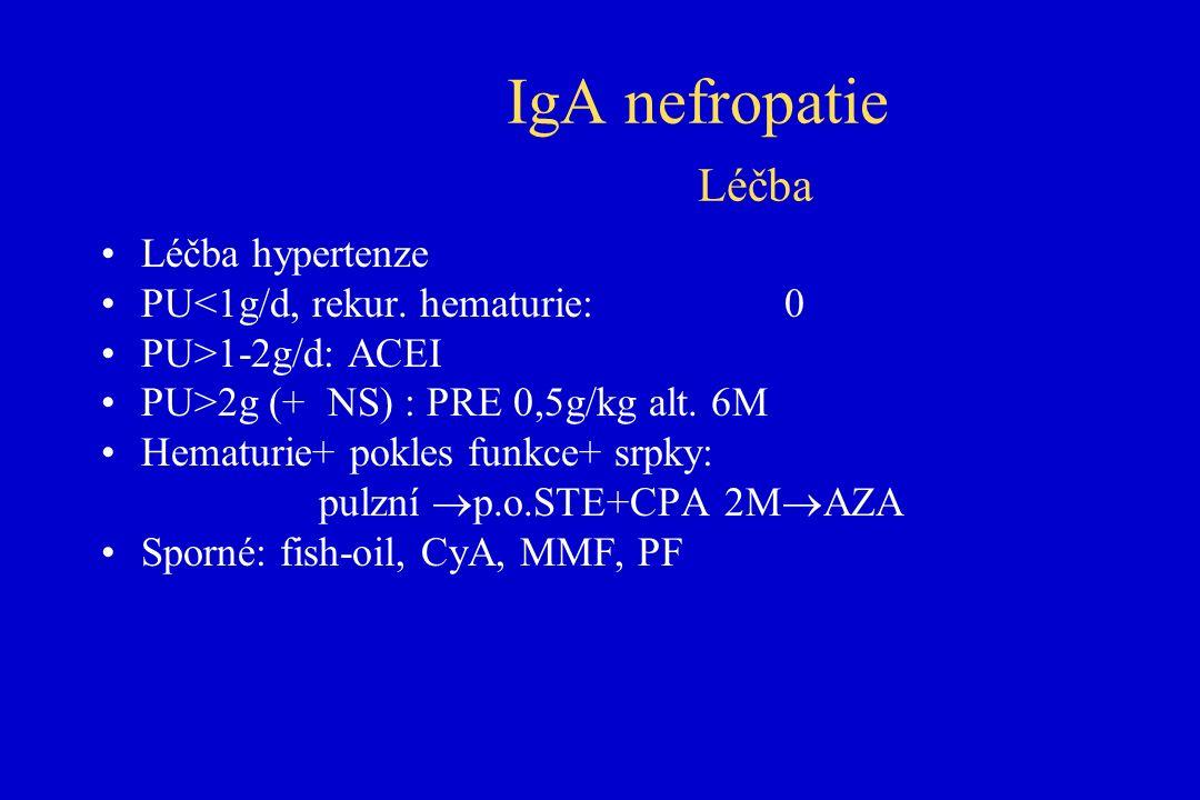 IgA nefropatie Léčba Léčba hypertenze PU<1g/d, rekur.