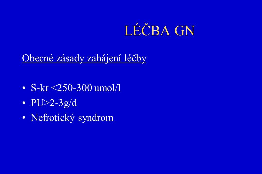 LÉČBA GN Obecné zásady zahájení léčby S-kr <250-300 umol/l PU>2-3g/d Nefrotický syndrom