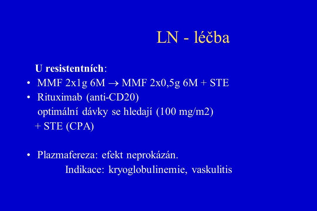 LN - léčba U resistentních: MMF 2x1g 6M  MMF 2x0,5g 6M + STE Rituximab (anti-CD20) optimální dávky se hledají (100 mg/m2) + STE (CPA) Plazmafereza: efekt neprokázán.